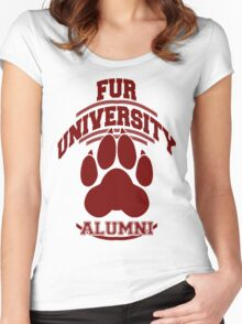 FUR UNIVERSITY -red- Women's Fitted Scoop T-Shirt