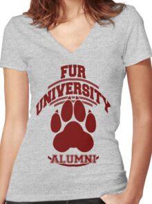 FUR UNIVERSITY -red- Women's Fitted V-Neck T-Shirt