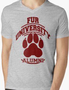 FUR UNIVERSITY -red- Mens V-Neck T-Shirt
