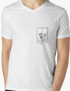 Lonely boy looking in Mens V-Neck T-Shirt