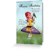 Birthday Card With Fairy And Chaffinch Greeting Card