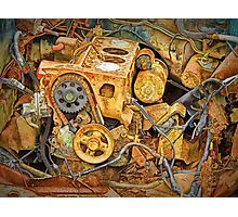 Photo of an Engine Block from a wrecked Auto Photographic Print