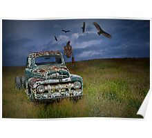 Abandoned Ford Truck with Vultures Poster
