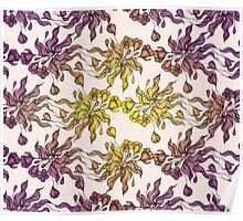 purple and yelow floral seamless pattern with hand drawn flowering crocus Poster
