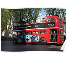 Open top red routemaster bus Poster