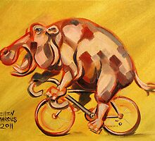 Hippo On A Bicycle 2 by Ellen Marcus