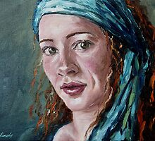 Self-portrait with headscarf by Beata Belanszky Demko
