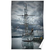 Tall masted schooner in Halifax Harbor Poster