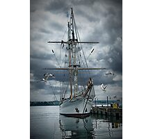 Tall masted schooner in Halifax Harbor Photographic Print