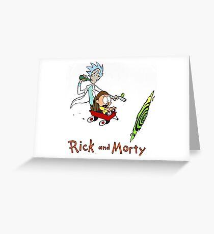 Rick and Morty Calvin and Hobbes Greeting Card