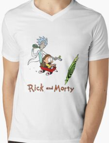 Rick and Morty Calvin and Hobbes Mens V-Neck T-Shirt