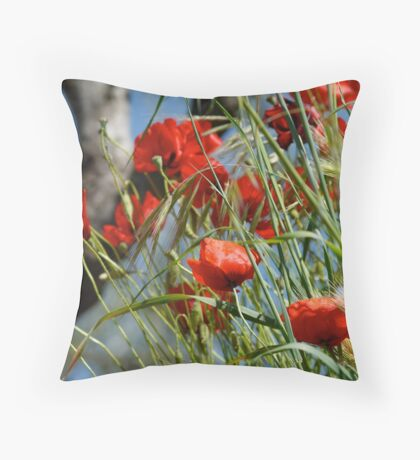 Tuscan poppy(in Tuscany -Italy) Throw Pillow