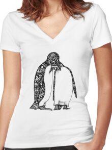 Penguin Hug Women's Fitted V-Neck T-Shirt