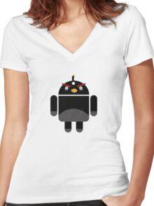 Droidbird (black bird) Women's Fitted V-Neck T-Shirt