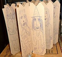 drawings on cardboard inserts, photo #1 by Stacey Lazarus