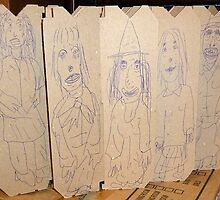 drawings on cardboard inserts from liquor carton, photo #2 by Stacey Lazarus