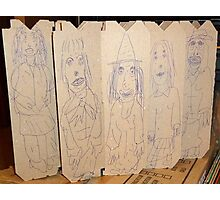 drawings on cardboard inserts from liquor carton, photo #2 Photographic Print