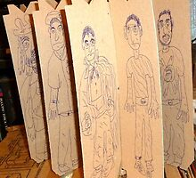 drawings on cardboard inserts from liquor carton, photo #3 by Stacey Lazarus