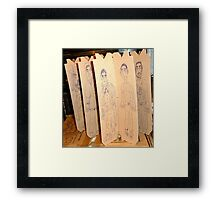 drawings on cardboard inserts from liquor carton, photo #3 Framed Print
