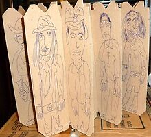 drawings on cardboard inserts from liquor carton, photo #4 by Stacey Lazarus