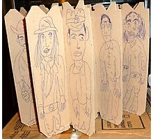 drawings on cardboard inserts from liquor carton, photo #4 Photographic Print