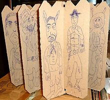 drawings on cardboard inserts from liquor carton, photo #5 by Stacey Lazarus