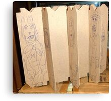 drawings on cardboard inserts from liquor carton, photo #6 Canvas Print