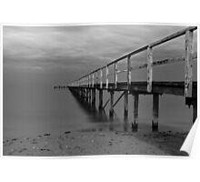 The Baths Pier BW Poster