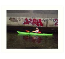 Kayak with Graffiti Art Print