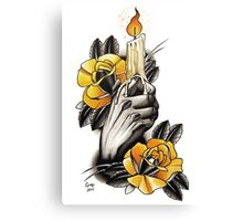 Hand holding Candle - TATTOO Canvas Print
