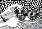 142 - VARIATION ON HOKUSAI'S WAVES (INK - 1987) by BLYTHART