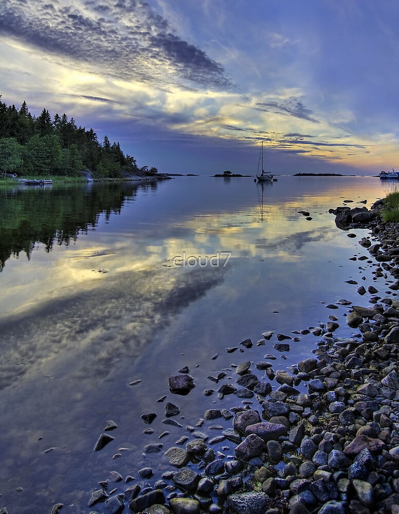 Nordic summer night seascape. by cloud7
