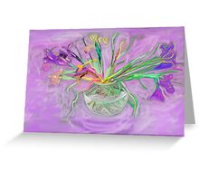 Lavender Orchids Painting Greeting Card