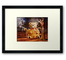 Does a Mama Grizzly drink tea in the woods? Framed Print