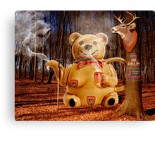 Does a Mama Grizzly drink tea in the woods? Canvas Print