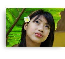 Portrait of a Shan girl, Thailand Canvas Print