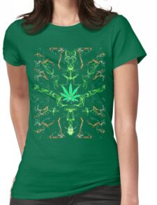 Marijuana Leaf Psychedelic pattern Womens Fitted T-Shirt