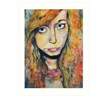 Watercolour, wet-on-wet portrait - Influenced by Molly Brill. Art Print