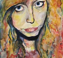 Watercolour, wet-on-wet portrait - Influenced by Molly Brill. by Sarah Byrne