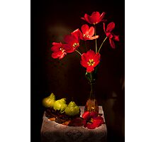 Red tulips with Pears Still life Photographic Print