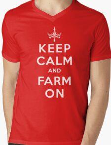 KEEP CALM and FARM ON Mens V-Neck T-Shirt