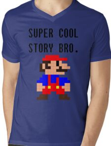 Super Cool Story Bro. (Mario) Mens V-Neck T-Shirt