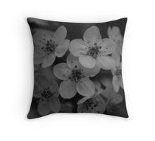 cherry blossoms black & white Throw Pillow