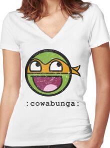 Cowabunga Buddy Squad: Michelangelo Women's Fitted V-Neck T-Shirt
