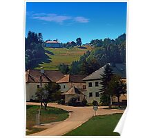 Small village in autumn scenery Poster