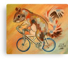 Squirrel on a Bicycle Canvas Print