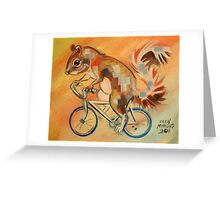 Squirrel on a Bicycle Greeting Card