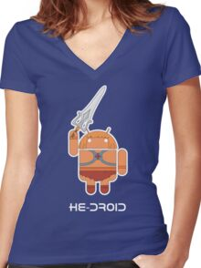 He-Droid Women's Fitted V-Neck T-Shirt