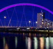 Squinty Bridge in Glasgow, Scotland after sunset by Birgit Van den Broeck