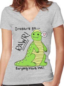 Dinosaurs Go Rawr! Women's Fitted V-Neck T-Shirt